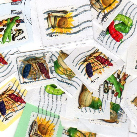 100 USA Used 39c Crops of America postage stamps on paper bundle bundleware