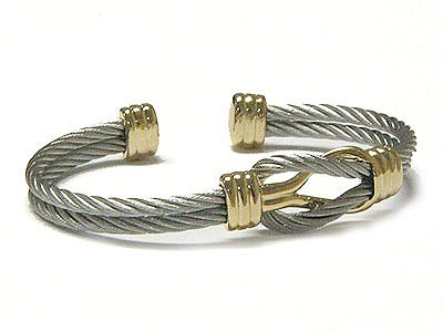 Beautiful Braided Knot Cable 2 Tone Flex Cuff Bracelet - FREE SHIPPING