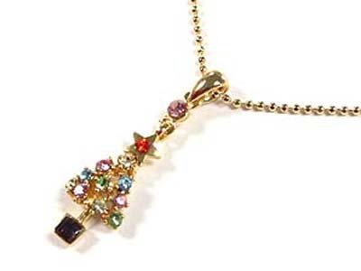 Dazzling Goldtone Crystal Christmas Tree 16 Inch Ball Necklace