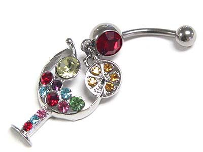 Dazzling WGP Surgical Steel Austrian Crystal Martini Belly Ring - FREE SHIPPING