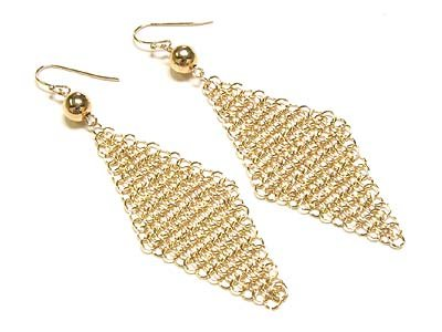 Gorgeous Goldtone Triangular Mesh Earrings - FREE SHIPPING