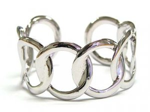 Wide Silver WGP Round Link Cuff Bracelet - FREE SHIPPING