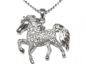 Gorgeous Austrian Crystal Prancing Horse Necklace