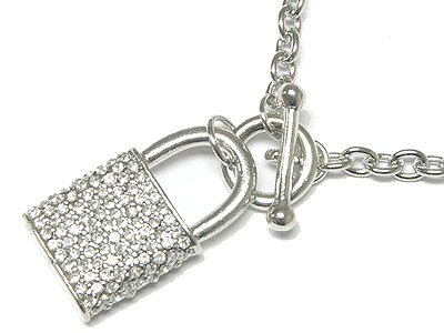 Adorable Austrian Crystal Lock Toggle Necklace