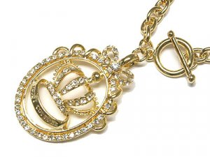 Gorgeous Juicy Austrian Crystal Crown Toggle Necklace