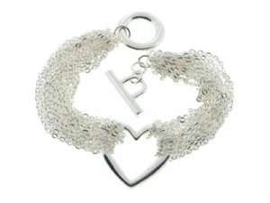 Gorgeous Heavy Mesh Link Floating Heart Toggle Bracelet - FREE SHIPPING