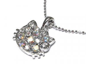 Dazzling Austrian Crystal Hello Kitty Cat Beaded Chain Necklace - FREE SHIPPING