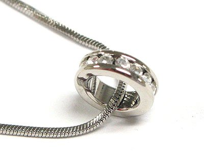 Gorgeous Austrian Crystal Ring Wheel Snake Chain Necklace