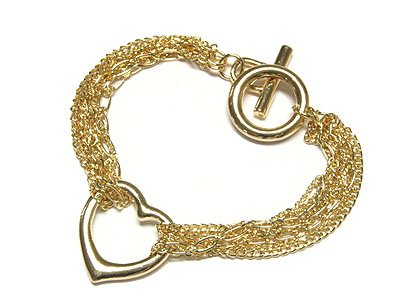 Gorgeous Multi Mesh Link Chain Floating Heart Toggle Bracelet - FREE SHIPPING