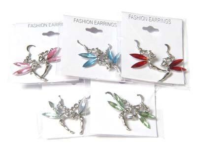 Beautiful Tinkerbell Silvertone Earring Jewelry Lot (12 Pack)