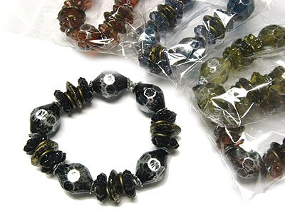 Dazzling Patina Bead Stretch Bracelets Wholesale Jewelry Lot (12 Pack)