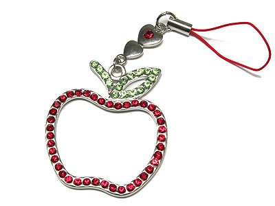 CRYSTAL APPLE CELLPHONE CHARM - FREE SHIPPING