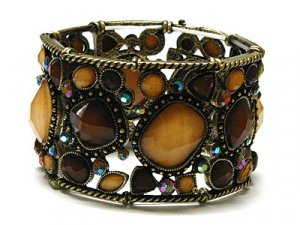 Wide Crystal Water Burnished Amber Genuine Swarovski Crystal Retro Stretch Bracelet