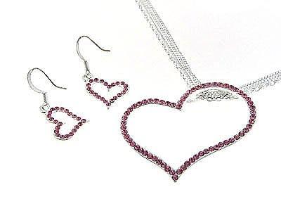 Dazzling Pink Genuine Austrian Crystal Floating Heart Necklace & Earrings Jewelry Set