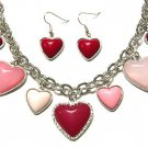 Art Deco Style Adorable Valentine Red Heart Necklace & Earring Jewelry Set