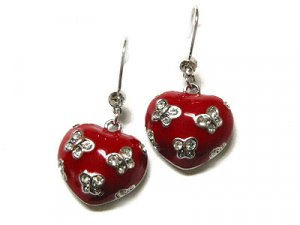 Queen of Hearts Red Acrylic Heart With Austrian Crystal Butterflies Earrings - FREE SHIPPING