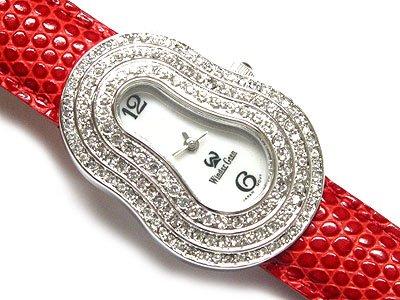 Gorgeous Swarovski Crystal Red Heart Snakeskin Genuine Leather Band Fashion Watch - FREE SHIPPING