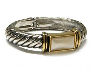 Heavy Hinged Designer Two Tone Cable Bangle Bracelet