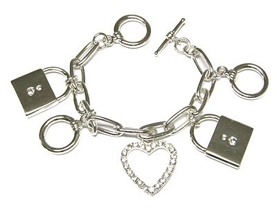 Beautiful Silver Rhinestone Heart and Padlock Charm Toggle Bracelet - FREE SHIPPING