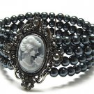Crystal Frame Cameo and 3 Row Glass  Pearl Stretch Bracelet - FREE SHIPPING