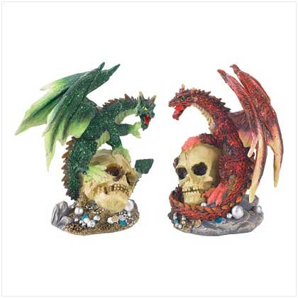 Fire and Earth Dragon Statues