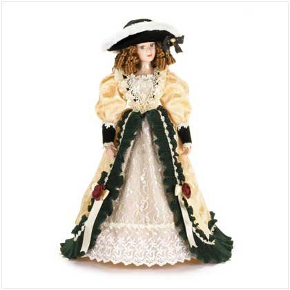 Porcelain Doll in Velvet and Ivory Dress