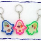 3 CLEAR  HAMSA WITH FRUIT PATTERN KEY CHAIN EVIL EYE