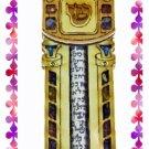 Rare New Wood Crystal Mezuzah judaica Torah Doorpost E