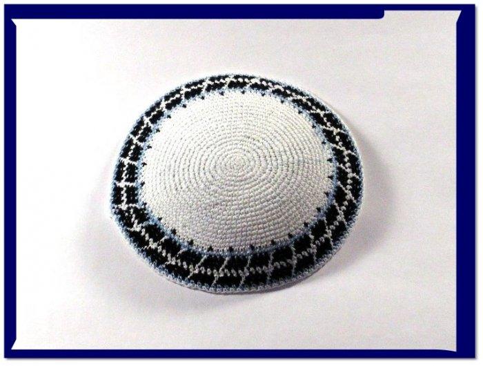 New White Knitted Kippah Yarmulke Yarmulka Kipa Kippa C