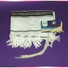 JEWISH BLACK/SILVER TALLIT TALIT PRAYER SHAWL S=45 NEW