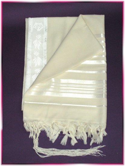JEWISH WHITE/SILVER TALLIT WOOL TALIT PRAYER SHAWL S=55
