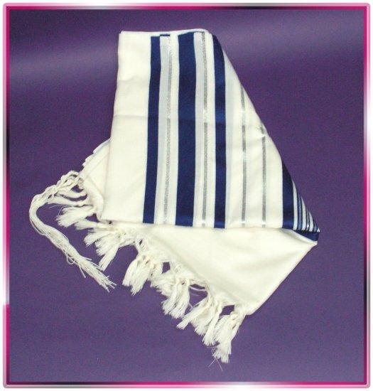 JEWISH BLUE/SILVER TALLIT WOOL TALIT PRAYER SHAWL S=55