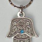 Silver Hamsa ,Blue Eye Gem Evil Eye Key Chain Prayer 2