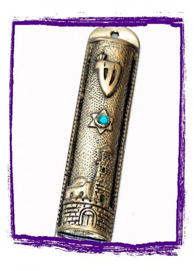 "New 6 "" Metal Mezuzah judaica Israel Torah Doorpost A"