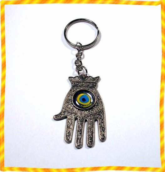 Silver Hamsa - Blue Eye Gem Evil Eye Key ring Prayer