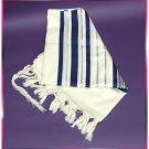 WOOL JEWISH BLUE/SILVER TALLIT TALIT PRAYER SHAWL S=50