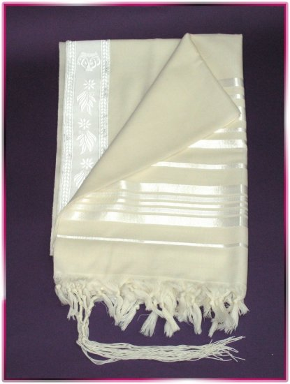 JEWISH WHITE/SILVER TALLIT WOOL TALIT PRAYER SHAWL S=60