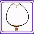 EVIL EYE HAMSA KABBALAH NECKLACE CHOKER NEW RARE BLACK