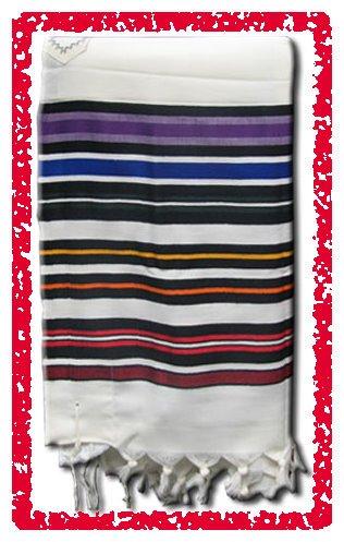 JEWISH MULTICOLOR TALLIT WOOL TALIT PRAYER SHAWL S=45