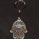 Silver Hamsa - Blue Eye Gem Evil Eye Key Chain Prayer 1