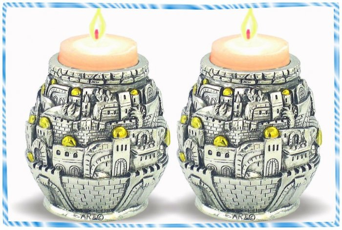 Judaica NEW Silver Gold Candlesticks Jerusalem look