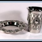 New Judaica Silver Nickel Kiddush Shabbat Cup and Tray