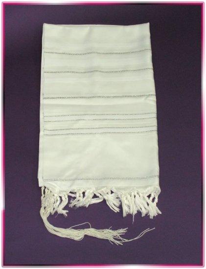 JEWISH WHITE/SILVER TALIT  TALLIT PRAYER SHAWL S=60
