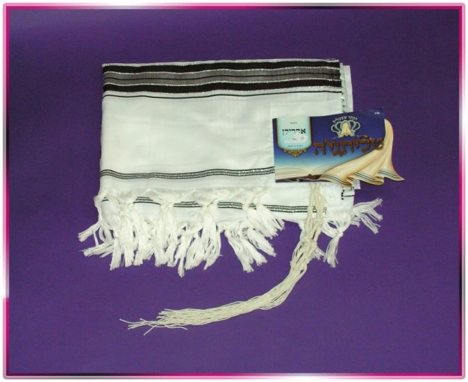 JEWISH BLACK/SILVER TALIT  TALLIT PRAYER SHAWL S=50 NEW