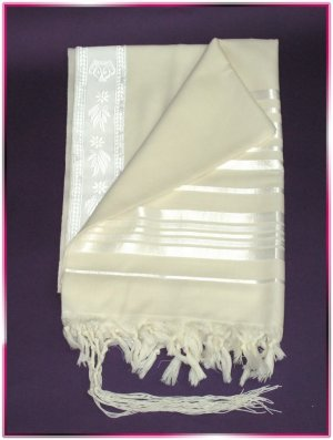 JEWISH WHITE/SILVER WOOL TALLIT TALIT PRAYER SHAWL S=60