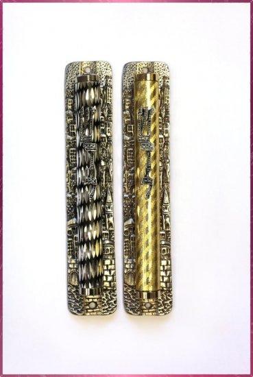 "2 lot 6.5 "" Metal Mezuzah judaica Israel Doorpost Torah"