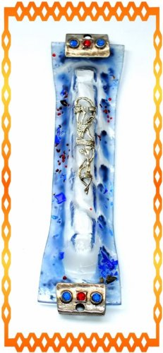 "New 7 "" Glass  Mezuzah judaica Israel Torah Doorpost A"