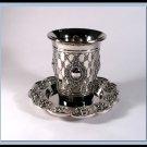 New Judaica Silver Nickel Shabbat Kiddush Cup and Tray