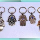 5 HAMSA SILVER  KABBALAH EVIL EYE KEY CHAIN  Prayer