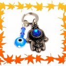 NEW SILVER HAMSA KABBALAH EVIL EYE KEY CHAIN BLUE GEM 2